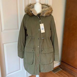NEW Noppies Malin maternity coat green fur hood L